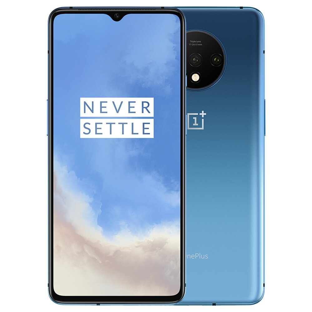 OnePlus 7T Global Rom 6.55 inch 90Hz Fluid AMOLED Display HDR10+ Android 10 NFC 3800mAh 48MP Triple Rear Cameras 8GB 256GB UFS 3.0 Snapdragon 855 Plus 4G Smartphone – Glacier Blue