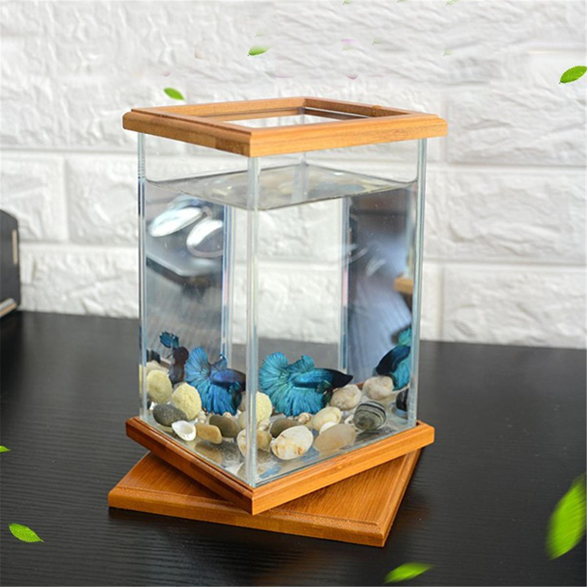 Mini Aquarium LED Lighting Clear Glass Fish Tank Container Office Desktop Decor!