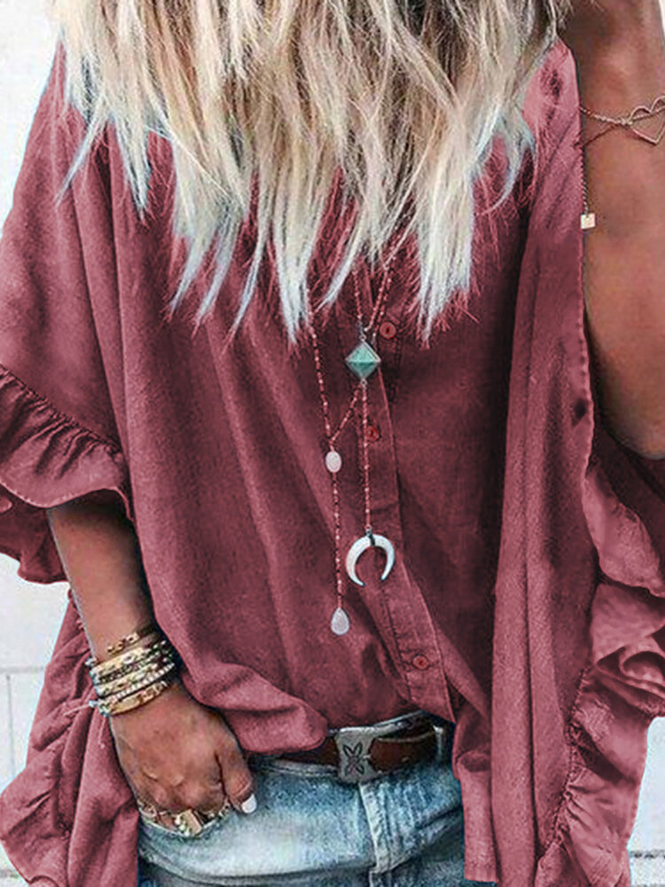 Women Loose Solid Flare Sleeve Button Down Shirts фото