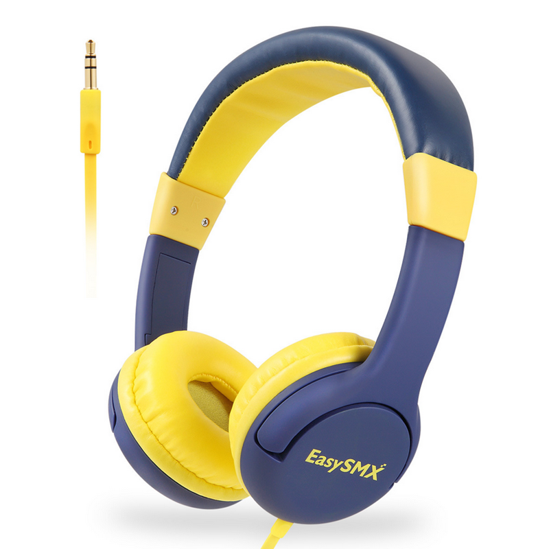 EASYSMX KM-666 Omnidirectional 3.5mm + USB Wired Headphone 85dB Volume Yellow for Children Student фото