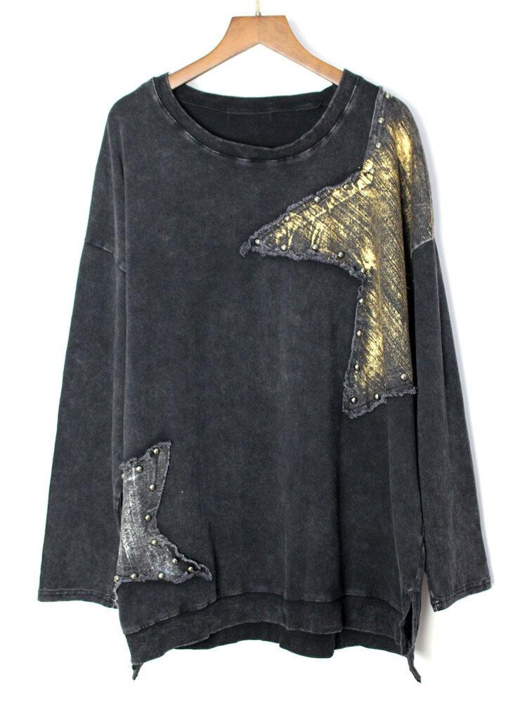 Loose Black Long Sleeve Star Asymmetrical Pullover Sweatshirt