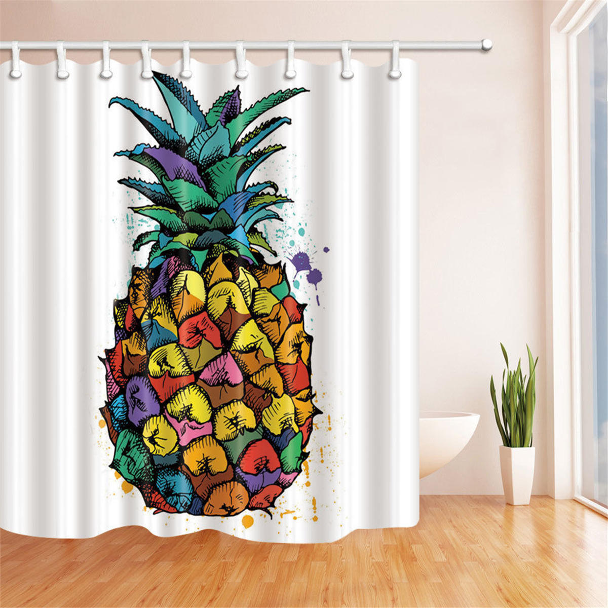 180*180cm Colorful Pineapple Polyester Bathroom Shower Curtain Waterproof Decor with 12 Hooks, Banggood  - buy with discount