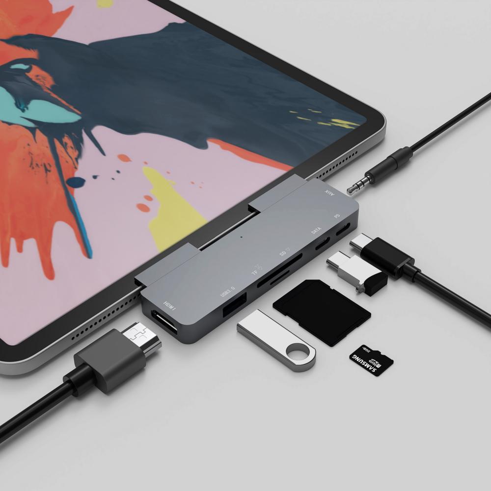 Bakeey 7-i-1 USB-C-dokkingstasjonsadapter med USB 3.0 / Type-C PD-port / Type-C Datatransmisjon / 4K HD Videooppstart / 3,5 mm lyduttak / minnekortlesere