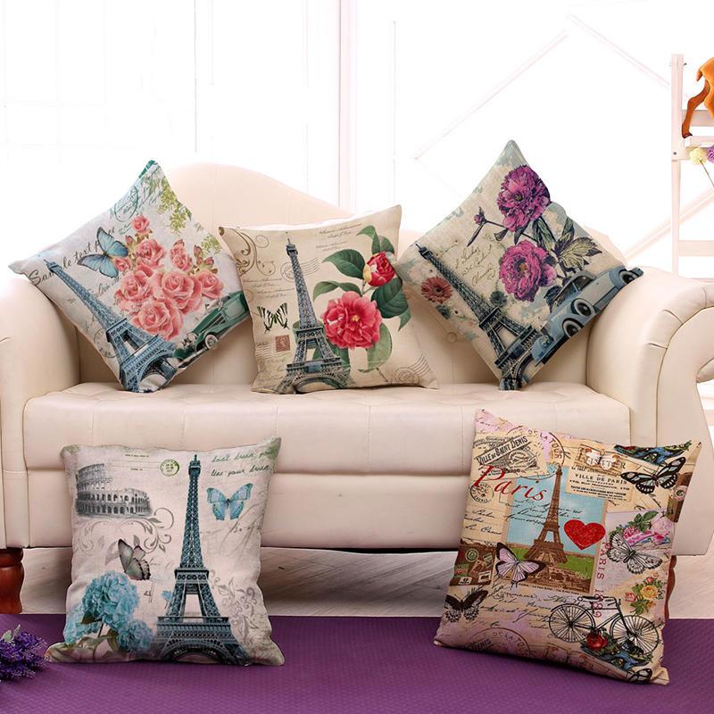 Paris Eiffel Tower Printed Pillow Case Linen Sofa Soft Cushion Cover