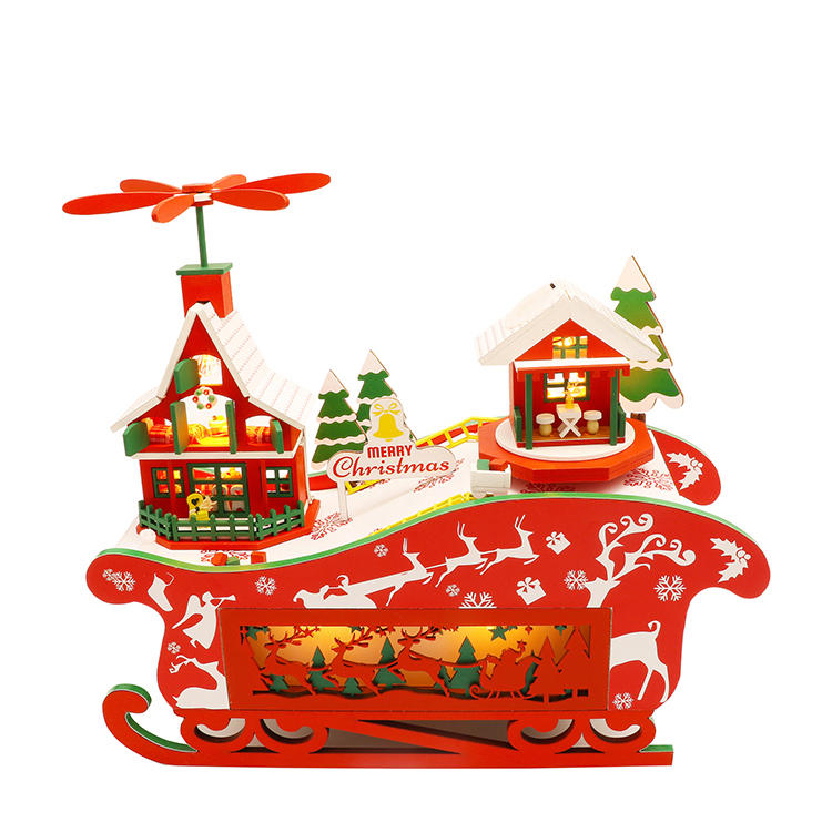 Hongda M908 Fantasy Christmas Night DIY Assembly Cottage Piggy Bank Doll House with Music and LED Light