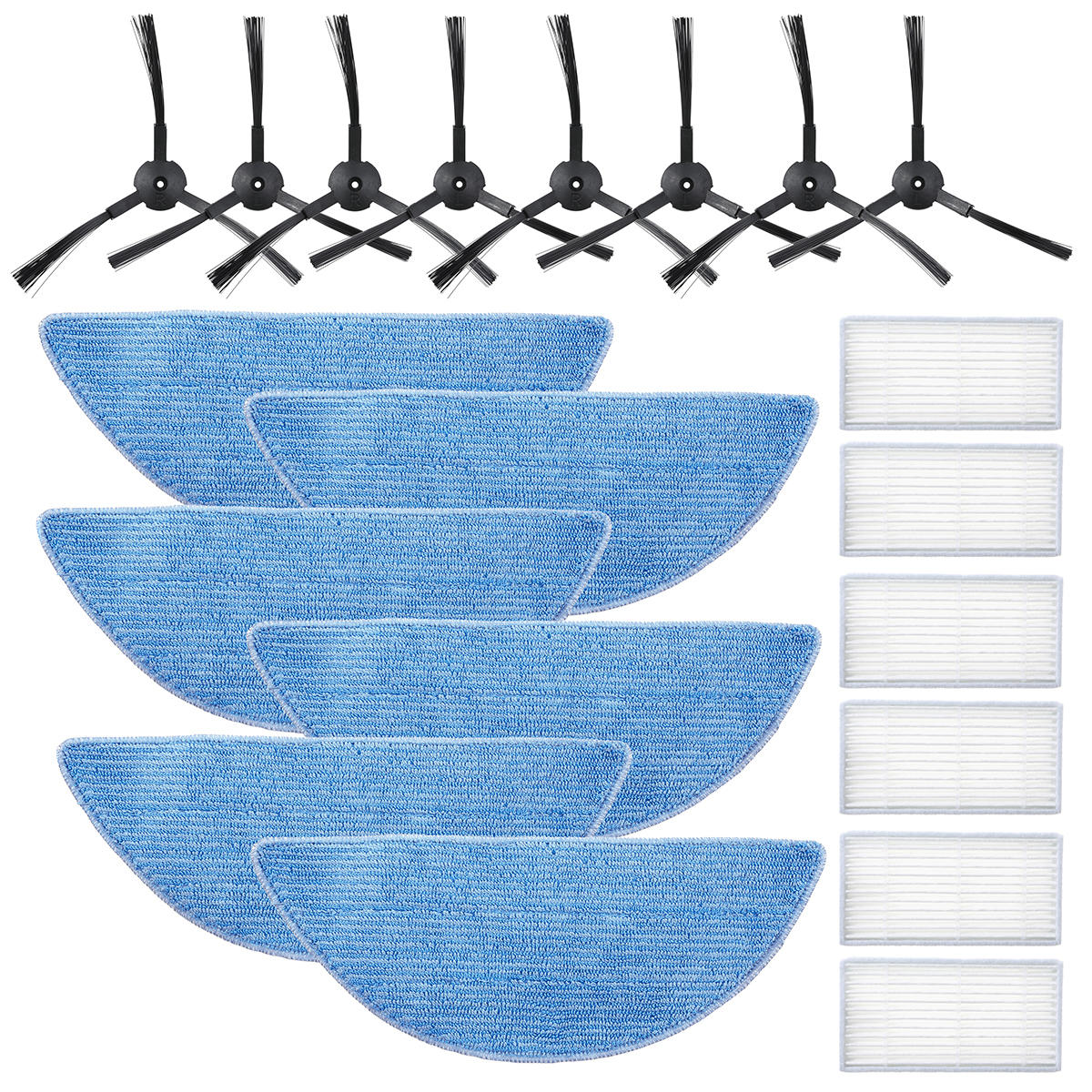 20pcs Replacements for Ilife V5 proX5 V3+V5 V3 Vacuum Cleaner Parts Accessories 8* Side Brushes 6*Filters 6*Rags