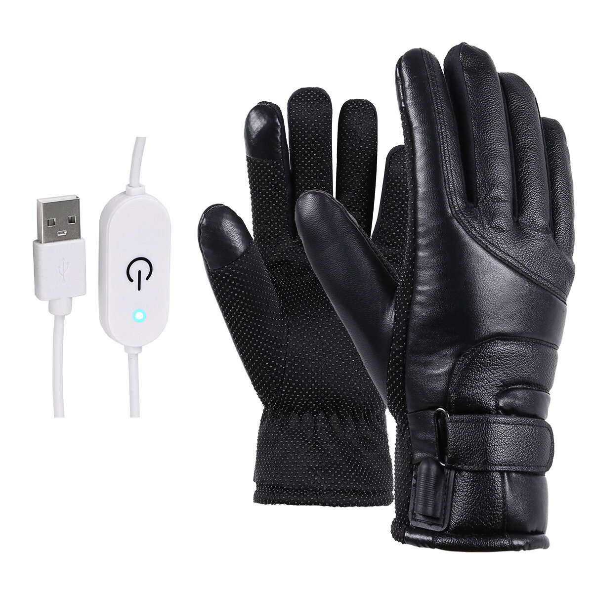 PU Leather Electric Heated Gloves Motorcycle Motorbike Winter Warm Riding Glove Touch Stepless Temperature Regulating Switch