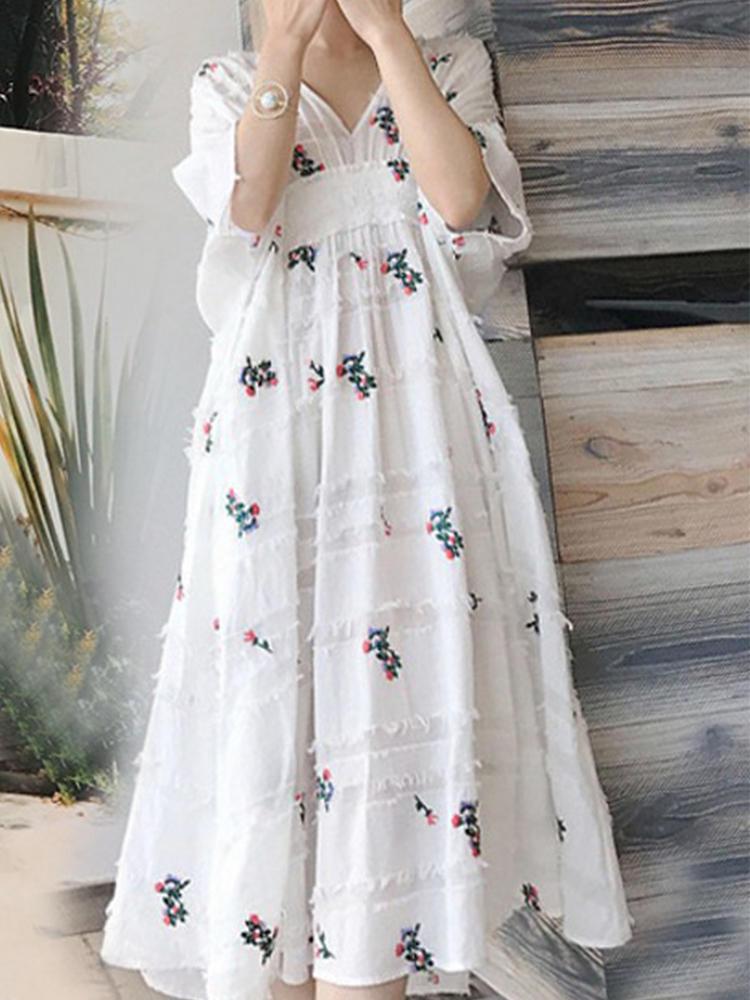 Casual Summer Print Floral V-neck Half Sleeve Dress