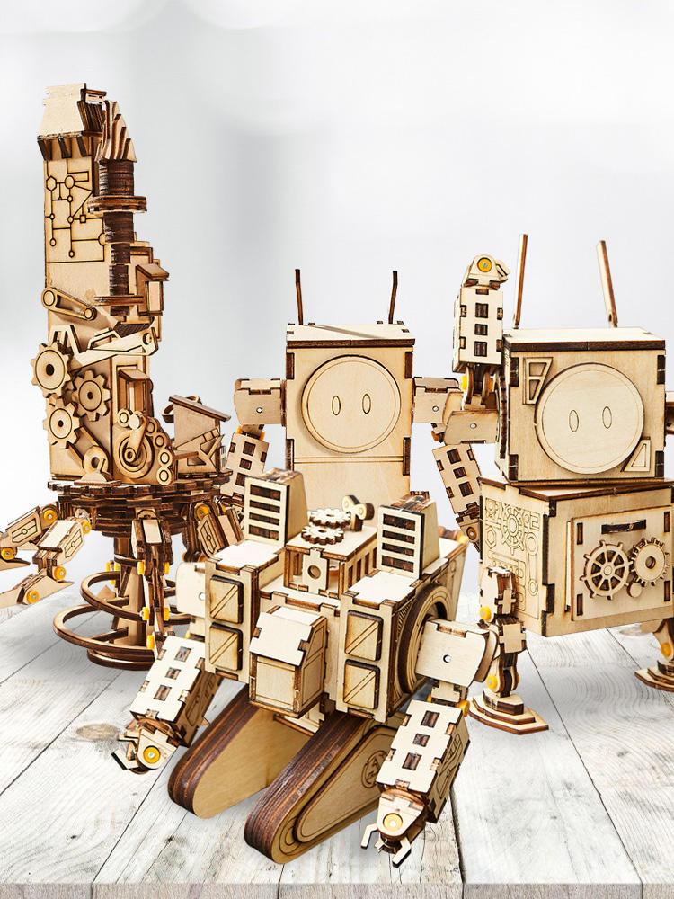 Gỗ DIY lắp ráp Robot trang trí mô hình đồ chơi