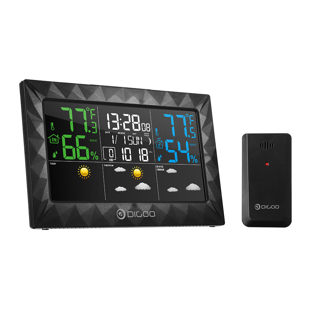 DIGOO DG-8270A Ultra Thin Color Screen Weather Forecast Station Temperature Humidity Sensor Snooze Alarm Clock