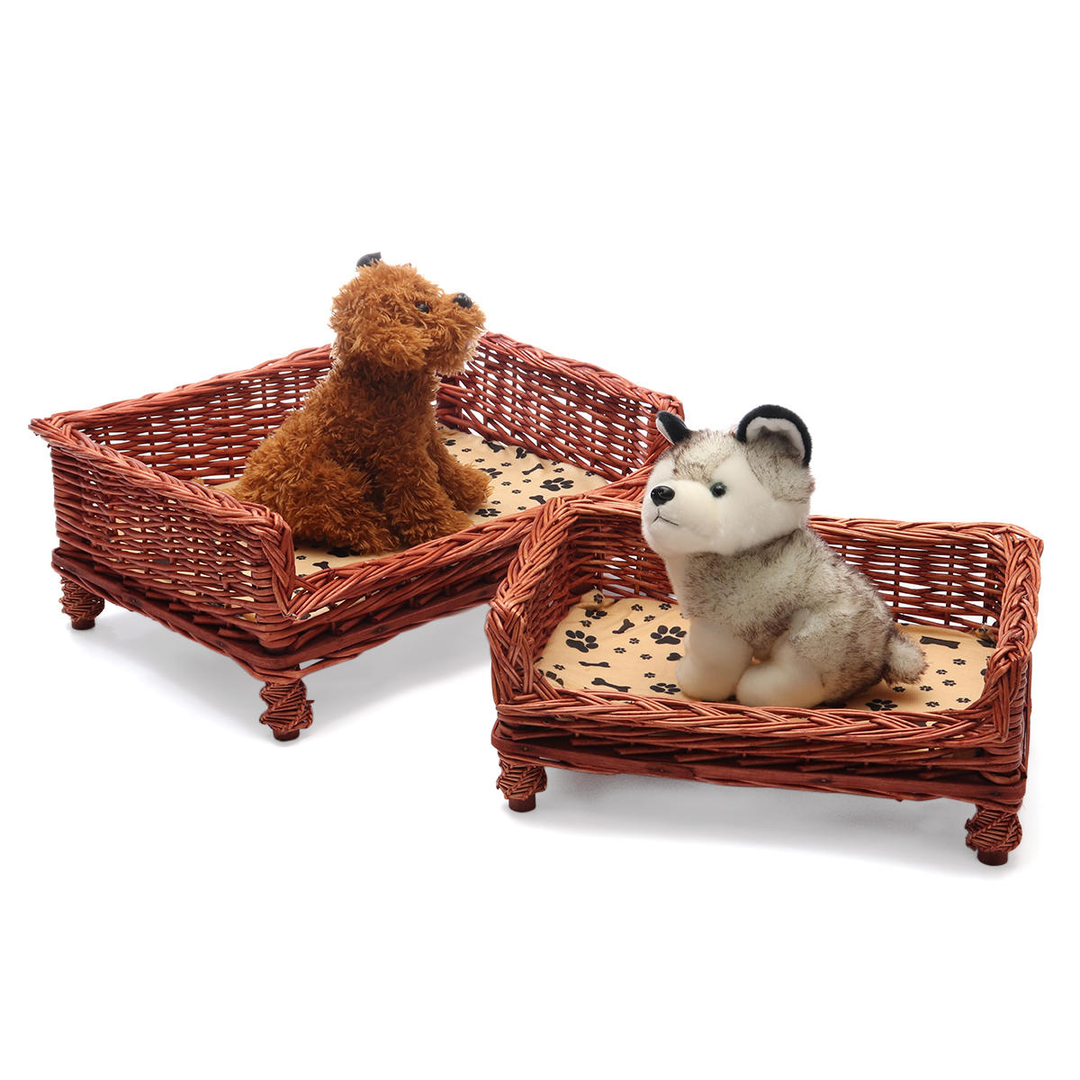 HAND WOVEN Wicker Pet Bed Dog Cat Basket Shabby Chic Sleeping Durable Washable