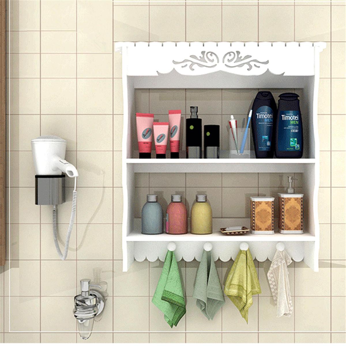 2 Tiers Wall Mounted Bathroom Shelf Towel Hooks Organizer Home Storage Rack