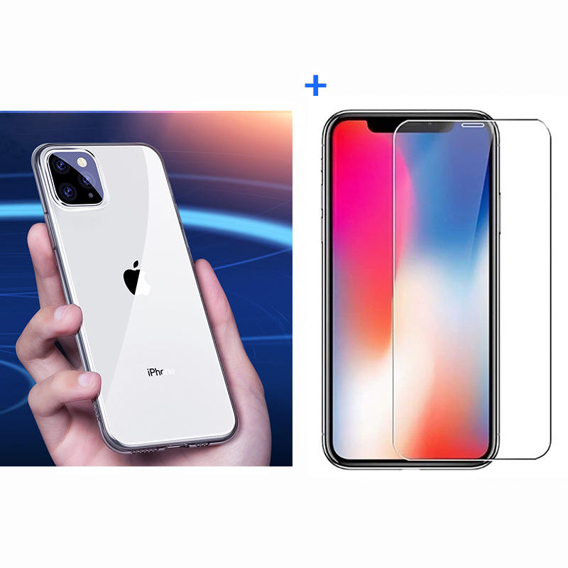 Baseus Ultra-thin Transparent Soft TPU Protective Case + Bakeey Anti-explosion Tempered Glass Screen Protector for iPhone 11 Pro Max 6.5 inch