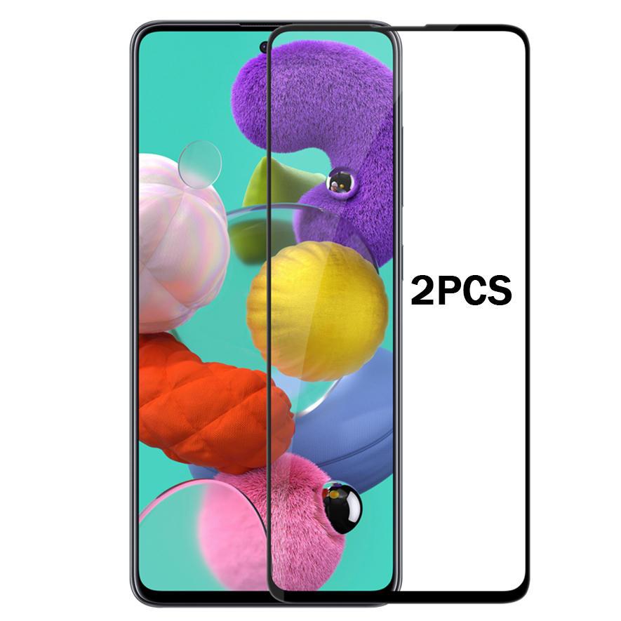 ENKAY 2PCS 9H 0,26 mm 2,5 D gebogener Explosionsschutz Vollkleber Vollschutz aus gehärtetem Glas für Samsung Galaxy A71