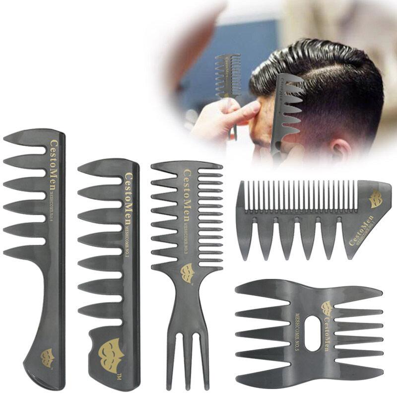 Retro Men's Head Comb Big Back Shape Comb Wide Tooth Head Insert Comb Fork Hair Scissors Tool
