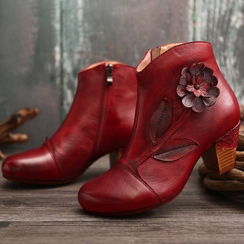 SOCOFY Women Retro Flower Genuine Leather Casual Ankle Short Boots