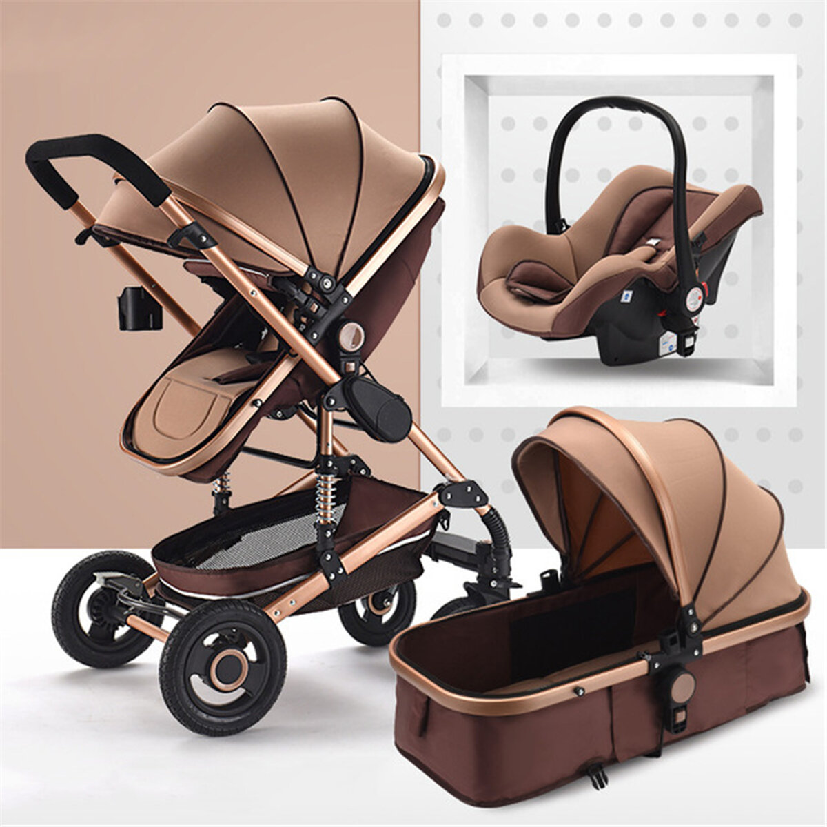 3 in 1 Baby Stroller High View Landscape Stroller Folding Baby Carriage Car Seat фото
