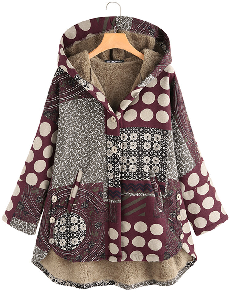 Vintage Women Printed Hooded Button High Low Coats with Pockets
