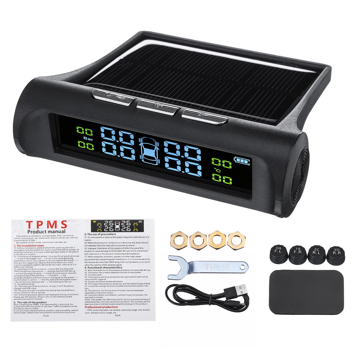 Solar TPMS Wireless Car Tire Pressure LCD Monitoring System 4 External Sensors