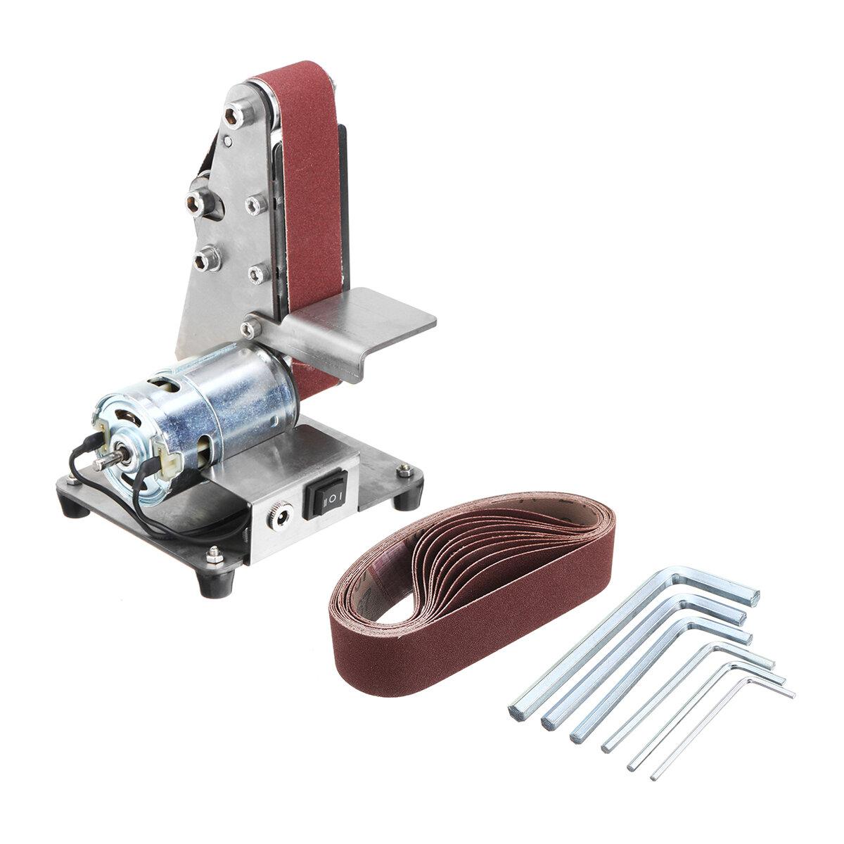 350W 4000-9000RPM Electric Adjustable Speed Mini Belt Sander Polishing Grinding Machine Antiskid Abrasive Belts Grinder
