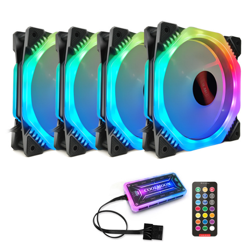 Coolmoon 4PCS 12cm Multilayer Backlit RGB CPU Cooling Fan PC Heatsink with the RF Wireless Remote Control