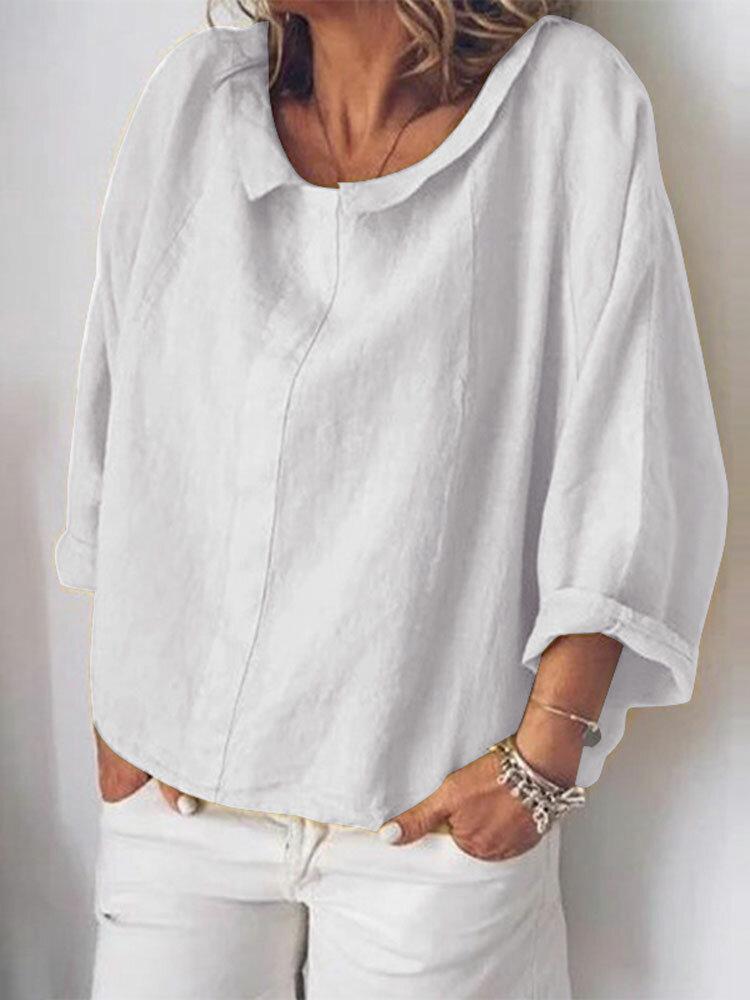 Women Casual Cotton Pure Color Long Sleeve Blouse