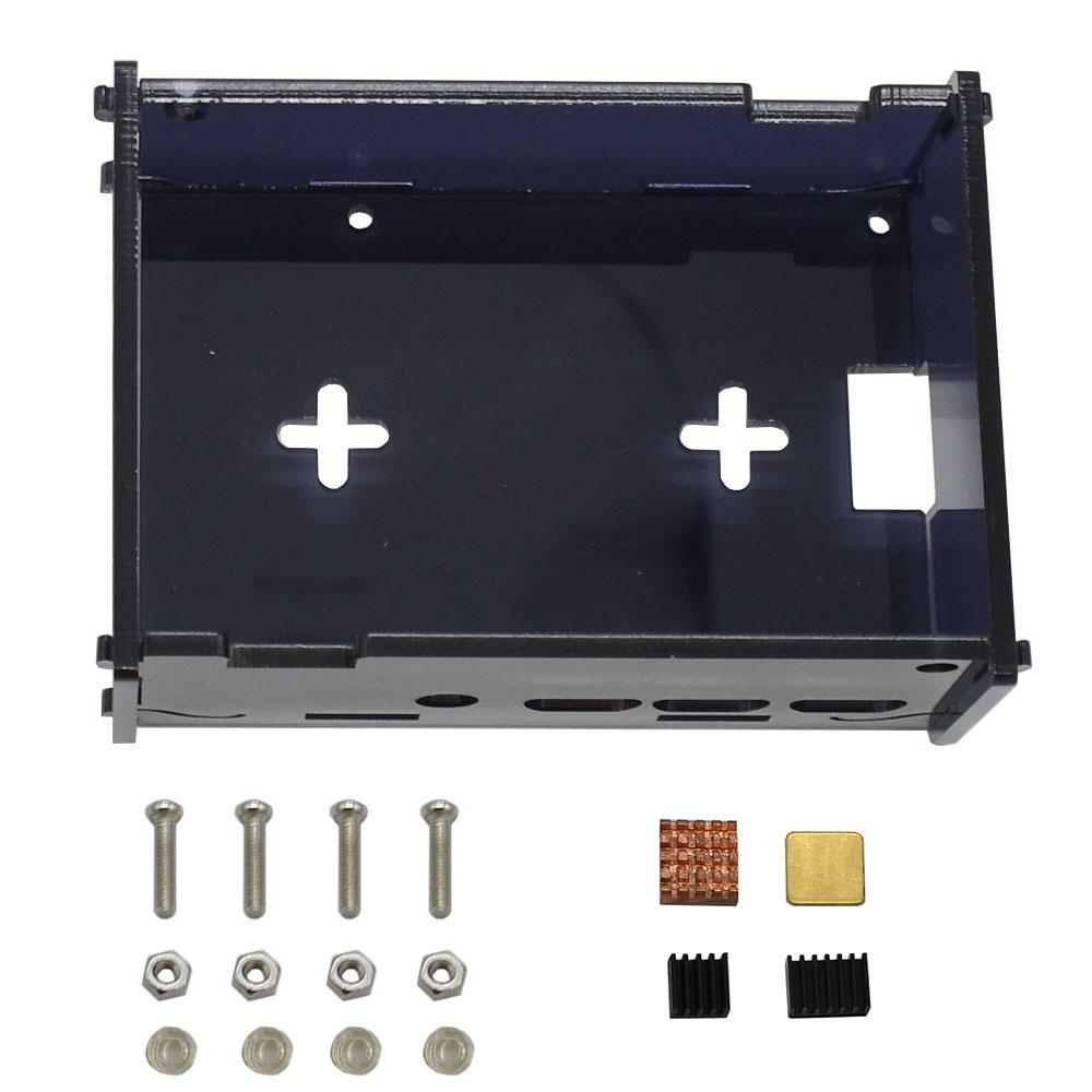 Black DIY Acrylic Case Box Shell with Screw and Black Big Copper Aluminum Heatsink for 3.5 Inch TFT Screen Raspberry Pi