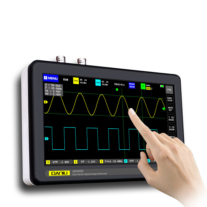 DANIU ADS1013D 2 Channels 100MHz Band Width 1GSa or s Sampling Rate Oscilloscope with 7 Inch Color TFT LCD Touch Screen