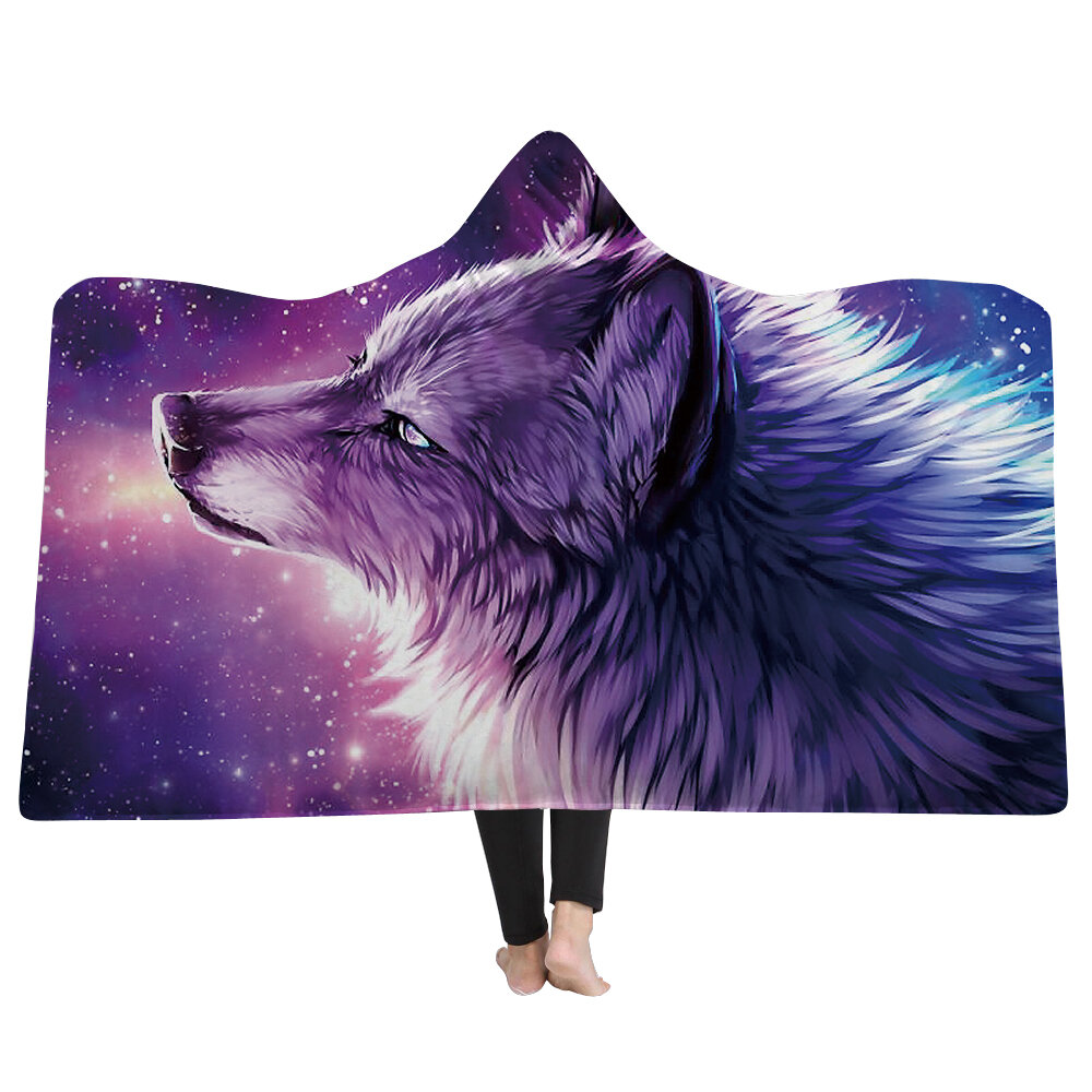 Soft Hooded Blanket Throw Winter Home Sofa Warm Plush Cloak 3D Printing Blankets Home Bedding