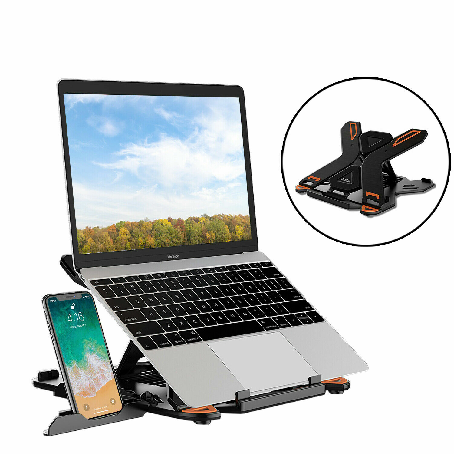 E5 Portable Laptop Stand Adjustable Computer Stand with Phone Holder for Notebook фото