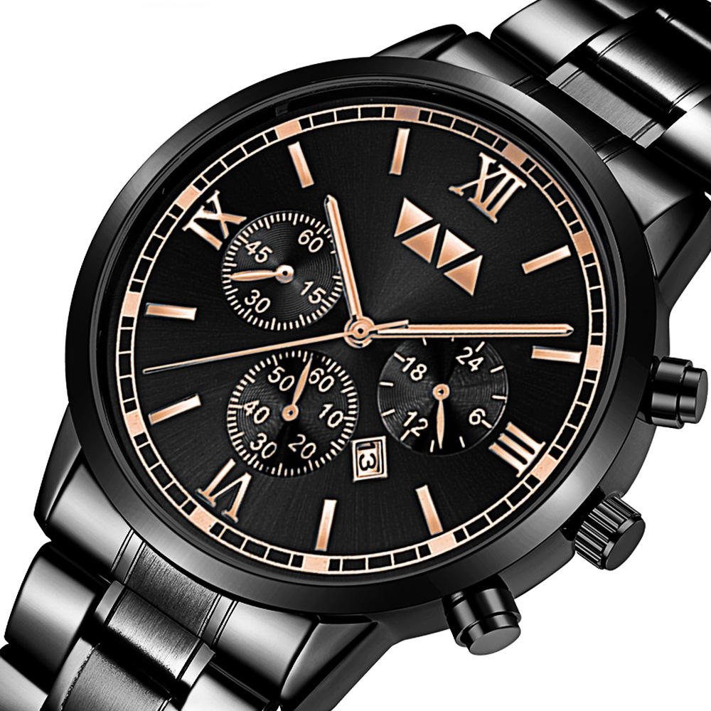 VA VA VOOM VA-2142 Fashion Men Watch Waterproof Date Display Stainless Steel Strap Quartz Watch