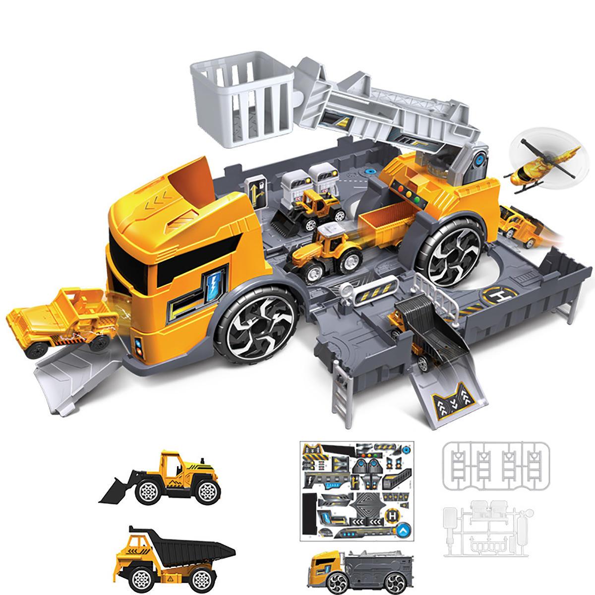 Children's Simulation Diecast Engineering Vehicle Model Set Deformation Storage Parking Lot Educational Toys