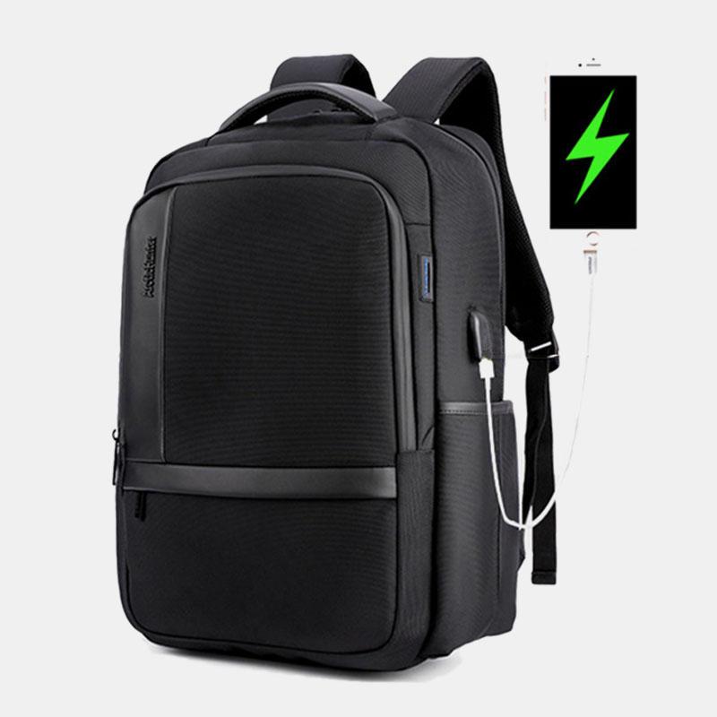 Men Large Capacity Waterproof Backpack Handbag With USB Charging Port & Audio Port