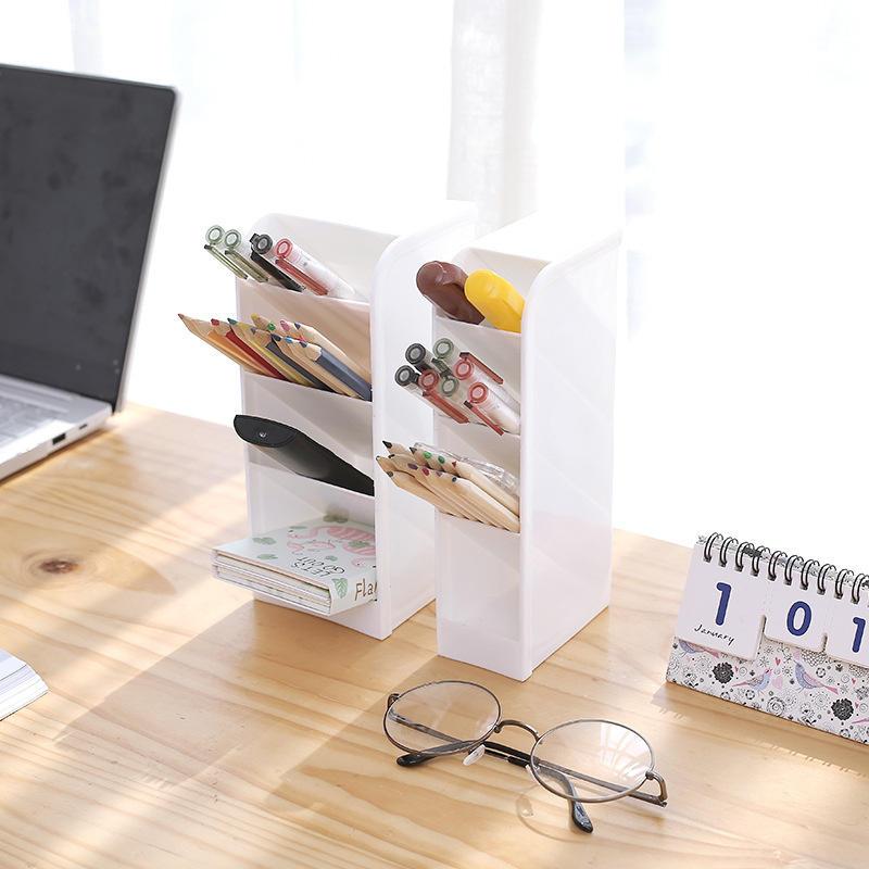 Mrosaa LiGo Tilted Pen Holder Office Desktop Storage Box Desk Stationery Cosmetic Makeup Brushes Organizer