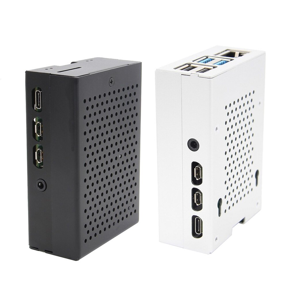 Black / Silver Aluminum Case Enclosure Shell With Cooling Fan For Raspberry Pi 4 Model B