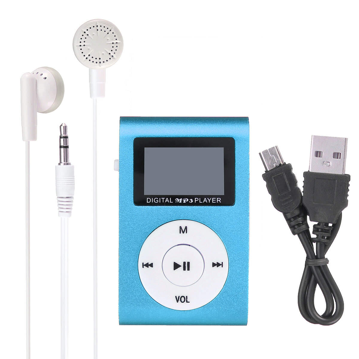 MP3 Player USB Clip 32GB Micro SD Card Slot with Earphone