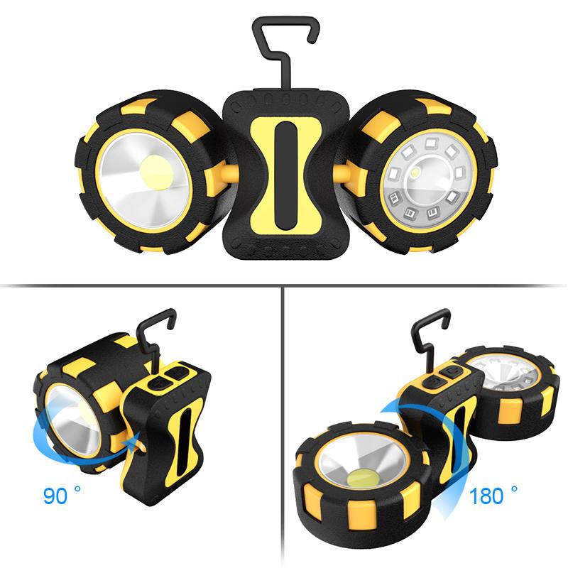 Xmund XD-SL11 500 Lumens 10W COB LED Camping Light Double Head Magnetic Hook Up 4 Modes Emergency Flashlight Searchlight