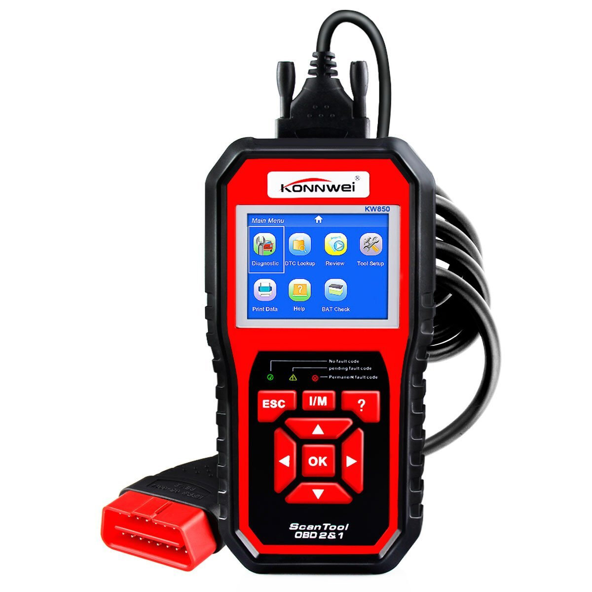 KONNWEI KW850 OBD2 Scanner EOBD Car Scan Diagnostic Tool Engine Fault Code Reader Multi-languages