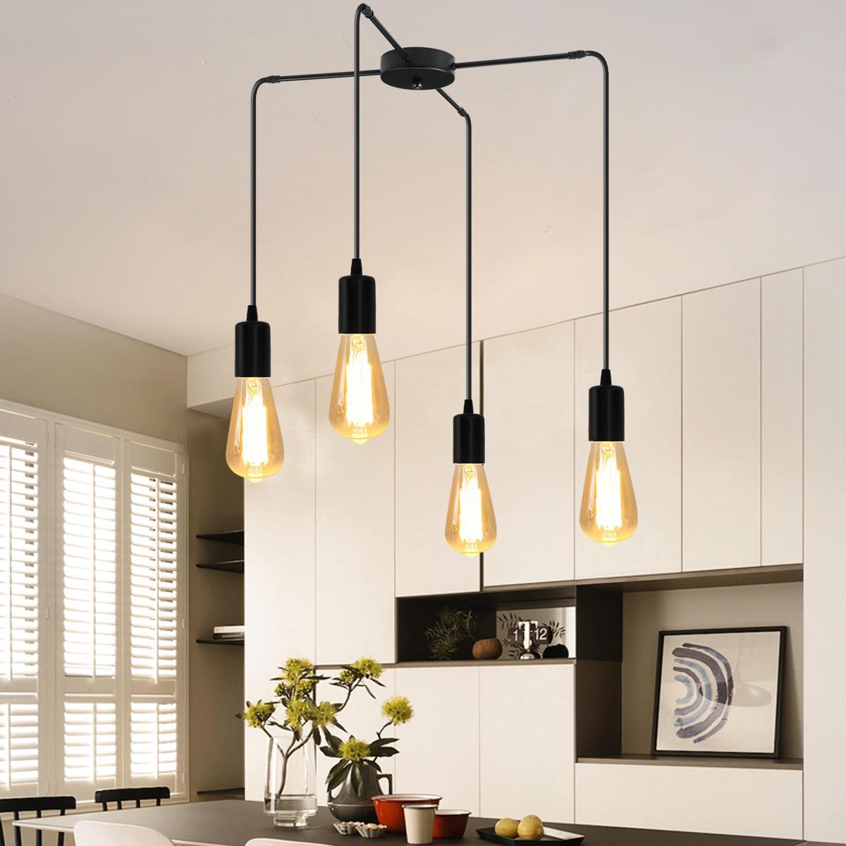 4 Köpfe E27 Moderne LED Kronleuchter verstellbare Pendelleuchte Deckenlampe