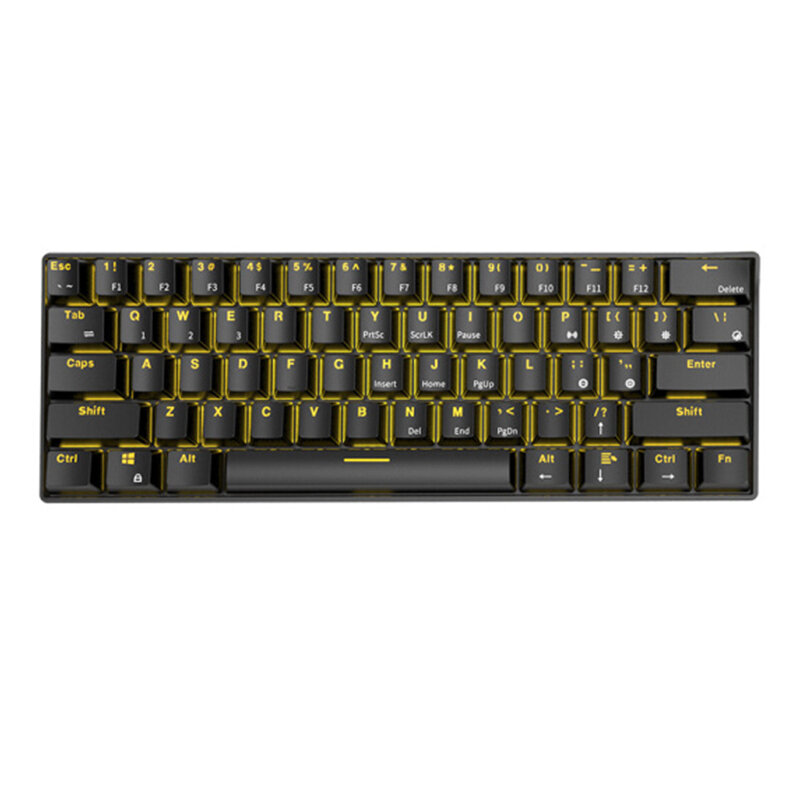 Royal Kludge RK61 bluetooth Wired Dual Mode 60% Golden/ Ice Blue Backlit Mechanical Gaming Keyboard - Blue Switch White
