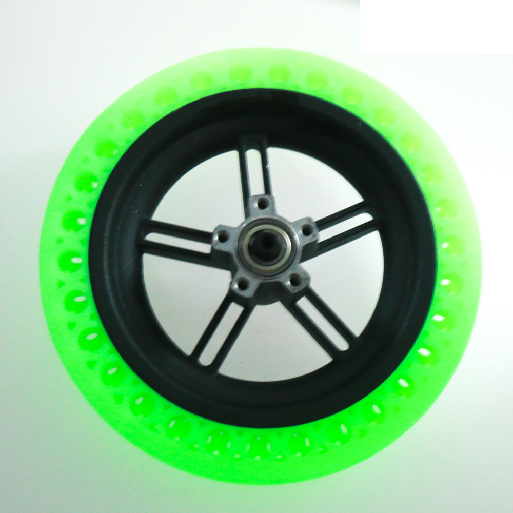 Fluorescent Green Electric Scooter Tyre Solid Tire + Wheel Hub For Xiaomi M365 / Pro Electric Scooter