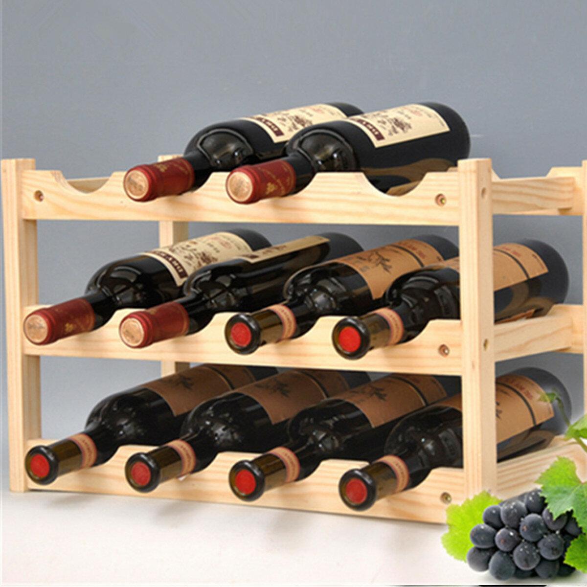 Wooden Rack 12 Bottles Storage Shelf Home Bar Cabinet Decorations, Banggood  - buy with discount