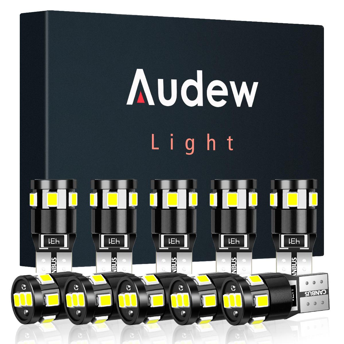 Audew T10 W5W Coche 2835 SMD LED Luces de posición laterales Estacionamiento Interior Bombillas Canbus Sin errores 2.7W 4882K Xenón blanco 10 piezas