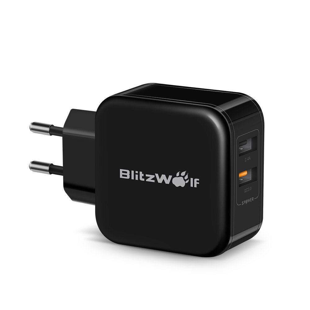 BlitzWolf® BW-S6 30W Dual USB QC3.0 Wall USB Charger EU Adapter for iphone 11 Pro XR X 8 Plus Xiaomi Huawei