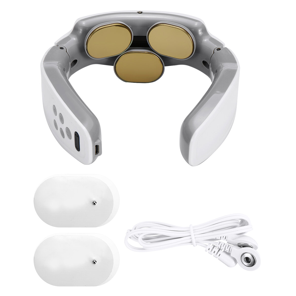 3 Modes 9 Levels Electric Cervical Massager 3 Head TENS Electrical Pulse Neck Acupuncture Percussion Pain Relief Hot Compress Magnetic with Electrodes Pads