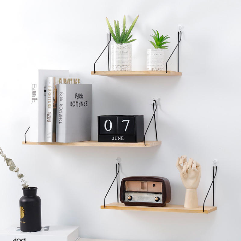 Solid Wooden Wall Mount Shelf Bracket Iron Partition Board Bedroom TV Wall Hanging Storage Shelf Rack for Home & Living, Banggood  - buy with discount