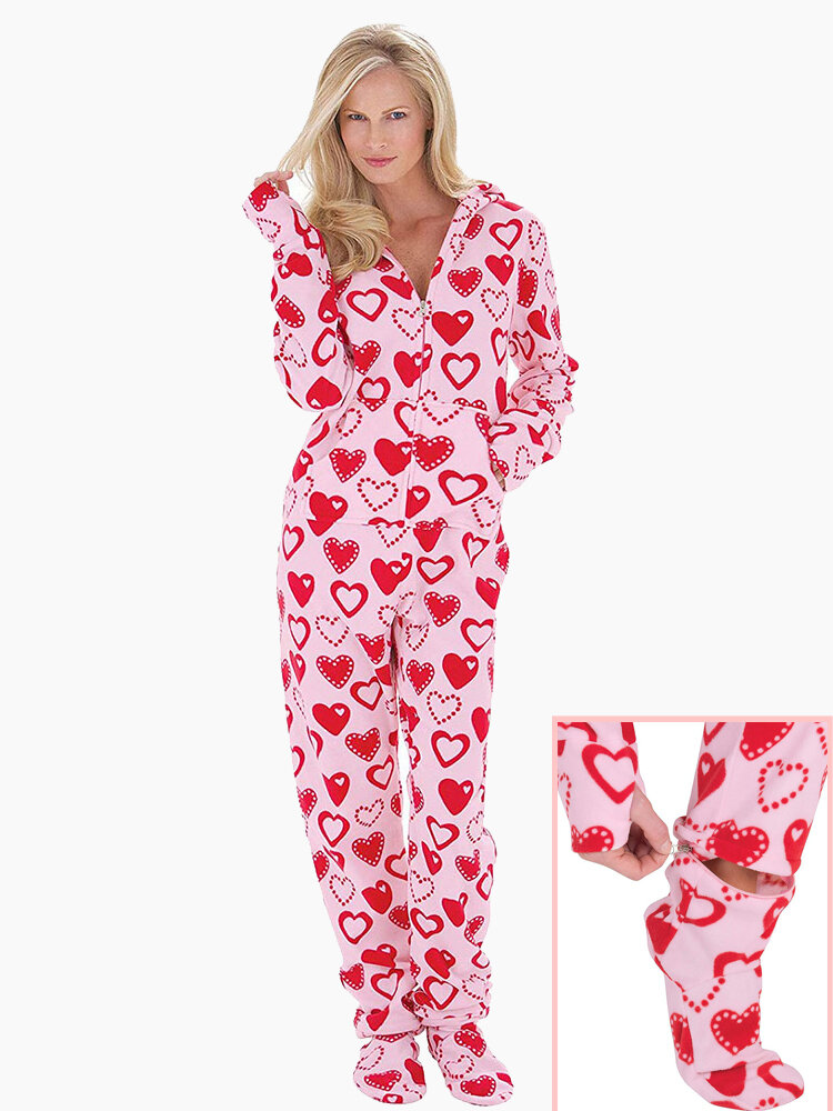 Hoodie Front Zipper Polar Fleece Printed Footed Pajama Set