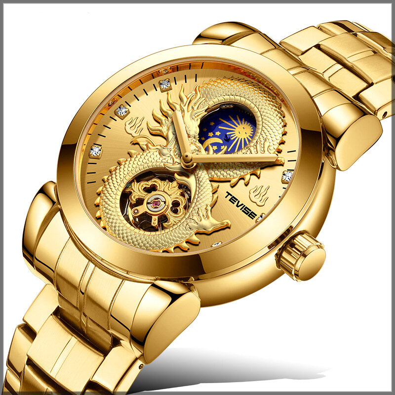 TEVISE T843B Dragon Design Automatic Mechanical Watches Stainless Steel Band Men Watch