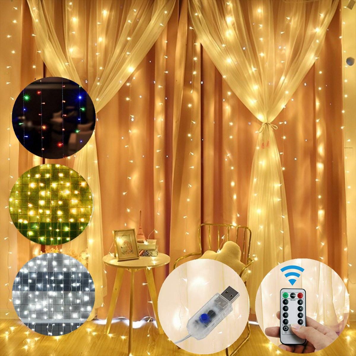 3M * 1M / 3M * 2M USB Chống nước dây cúi LED Chuỗi ánh sáng Rèm cây Dải Giáng sinh Giáng sinh Tiệc Giáng sinh