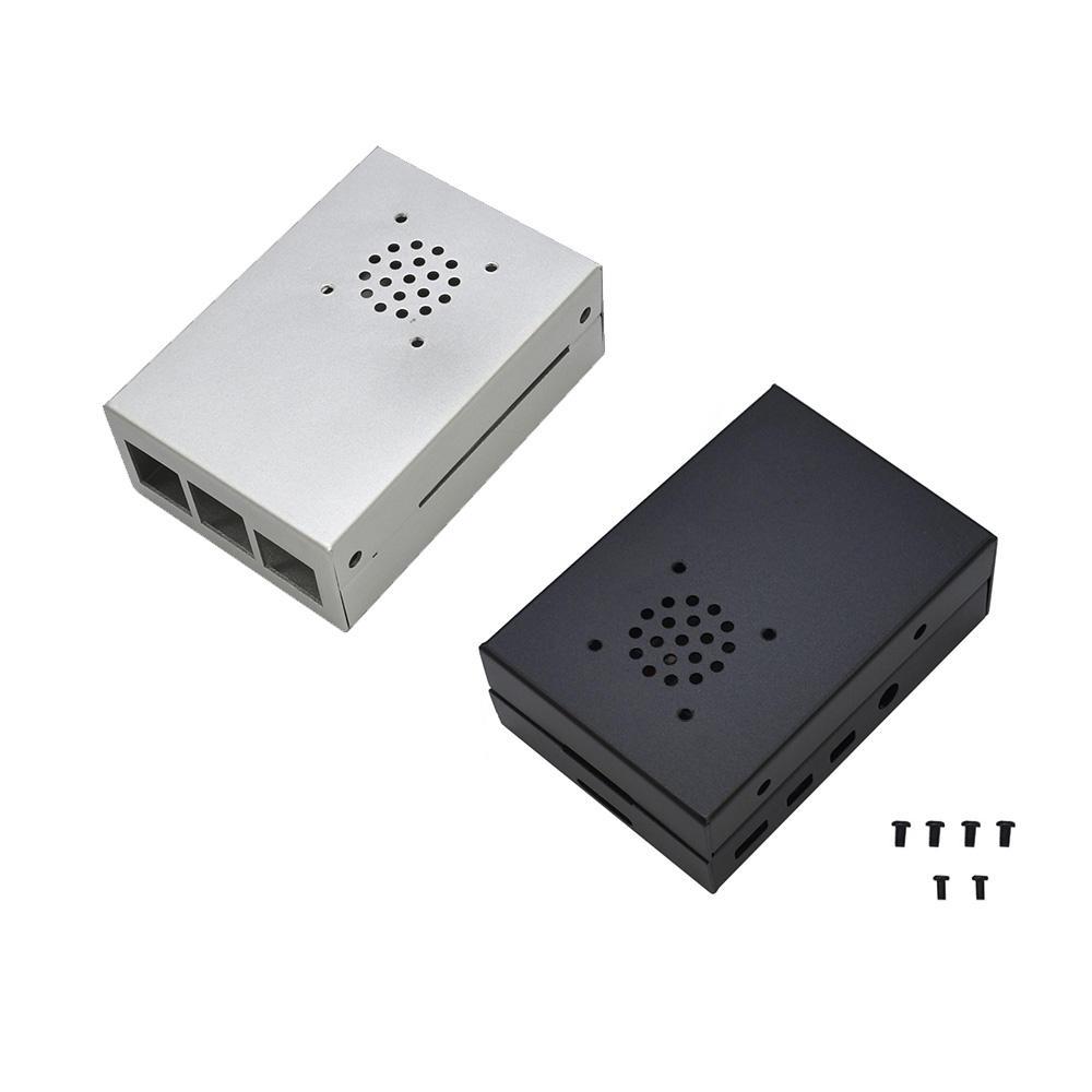 Black/Silver Aluminum Alloy Protective Enclosure Shell Case For Raspberry Pi 4